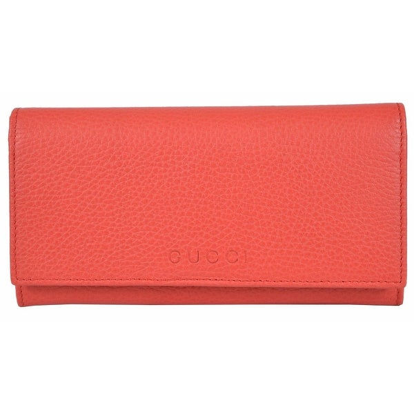 "Gucci Women's 346058 Coral Red Leather Trademark Logo Continental Wallet - 7.5"" x 4"" x 1"""