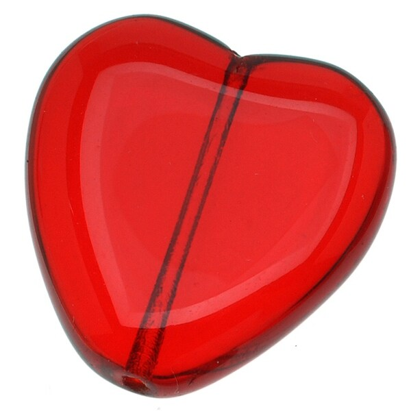 Czech Glass Big 22mm Heart Pendant Bead Ruby Red (X6)