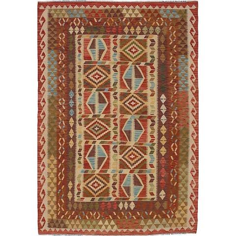 "ECARPETGALLERY Flat-weave Sivas Cream Wool Kilim - 5'7"" x 8'3"""