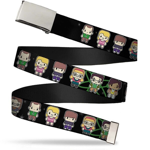 Blank Chrome Buckle Big Bang Theory Chibi Characters Atom Stars Web Belt