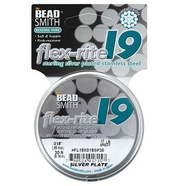 BeadSmith Flex-Rite Beading Wire, 19 Strand .018 Thick, 30 Foot Spool, Silver Plated