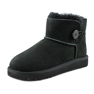 Ugg Australia Mini Bailey Button Youth Round Toe Suede Black Winter Boot