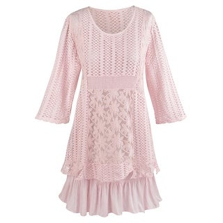 Women's Tunic Top And Under Layer - Perfectly Poetic Pink Tunic Set