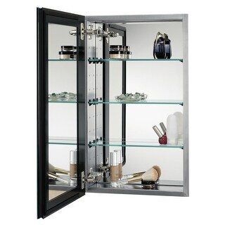 """Alno MC4555 Reflections 15"""" x 35"""" Single Door Recessed Medicine Cabinet with Stainless Steel Interior, Interior Framed Mirror"""