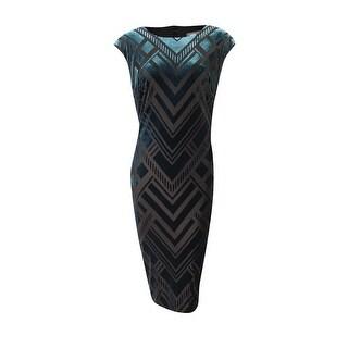 Vince Camuto Women's Geo-Flocked Velvet Sheath Dress - Green