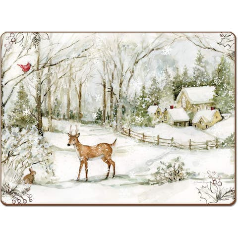 Cala Home Winter Forest by Susan Winget Hardboard Placemat Boxed Set of 4