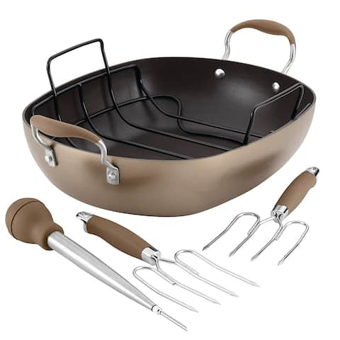 "Anolon 84139 Advanced Bronze Anolon 16"" x 13"" Oval Roaster Set"
