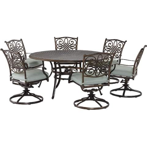 Agio Renditions 7-Piece Set with 6 Swivel Rockers and 60-in. Cast-Top Table, Featuring Sunbrella® Fabric in Mist Blue
