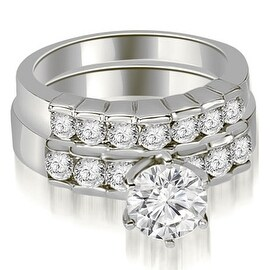 1.55 cttw. 14K White Gold Round Cut Diamond Engagement Set