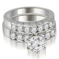1.55 cttw. 14K White Gold Round Cut Diamond Engagement Set