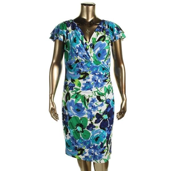 Lauren Ralph Lauren Womens Plus Wear to Work Dress Matte Jersey Surplice - 14W