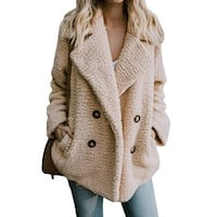 Double-breasted Sweater With Loose Fur Coat