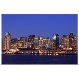 """Boston Harbor Skyline"" Poster Print"