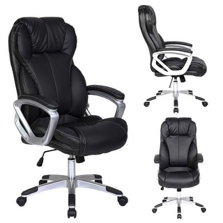 H 2xhome Black Leather Deluxe Professional Ergonomic High Back Executive  Office Chair
