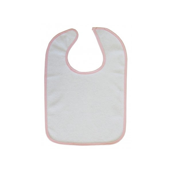 Bambini Baby 2-Ply Terry Full Size Bib White with Pink Trim - 1027WP