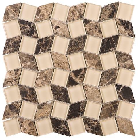 "TileGen. Geometry Diamond Emperador 1.3"" x 1.3"" Marble Mosaic Tile in Beige/Brown Wall Tile (10 sheets/8.8sqft.)"