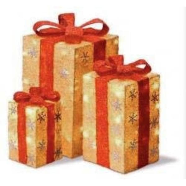 Set of 3 Lighted Tall Gold Sisal Gift Boxes Christmas Outdoor Decorations