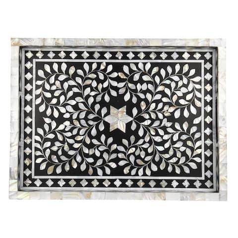 "GAURI KOHLI Jodhpur Mother of Pearl Inlay Decorative Tray in Black - 20"" X 15"""