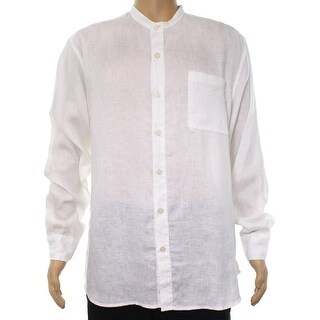 Tommy Bahama White Mens XL Relaxed Banded Collar Button Down Shirt