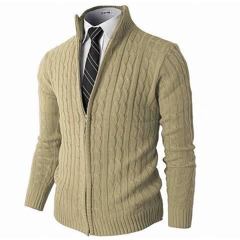 H2H Mens Sweaters Beige Size 3XL Full-Zip Slim-Fit Knit Cardigan