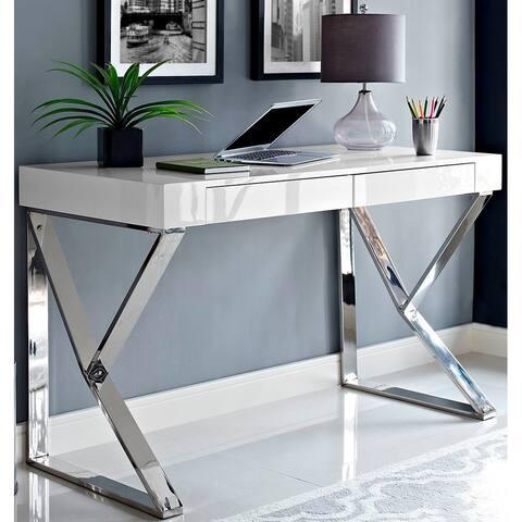 Contemporary Modern Geometric Design Chrome Writing Desk