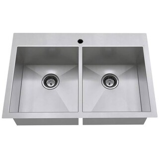 "American Standard 18DB.9332211  Edgewater 33"" Double Basin Stainless Steel Kitchen Sink for Drop In or Undermount Installations"