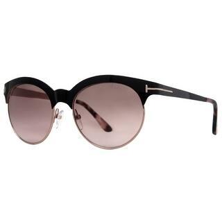 957f3285815 Tom Ford Angela TF438 01F Shiny Black Rose Gold Women s Round Sunglasses - shiny  black