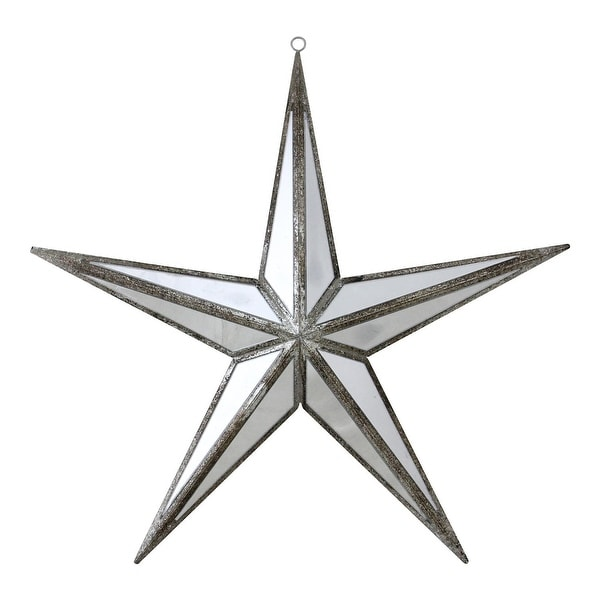 "11"" Mirrored Five Point Star Christmas Ornament - silver"