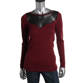 Guess Womens Cashmere Blend Mesh Trim Pullover Top