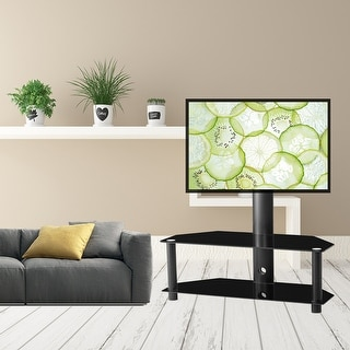 Swivel Floor Corner TV Stand with 2 Shelves, Adjustable Height and Angle, Universal TV Stand Mount for Most 65 inches