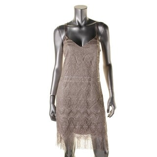 Jessica Simpson Womens Cocktail Dress Metallic Fringe