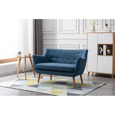 Porthos Home Della Small Sofa For Living Room, Fabric, Wooden Legs
