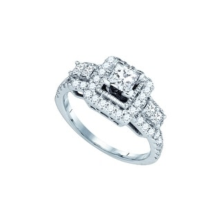 1 1/4Ctw Diamond 1/2Ctw Cpr Bridal Engagement Ring 14K White-Gold
