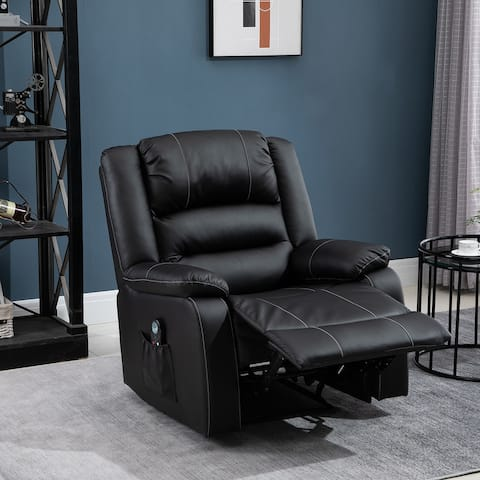 HOMCOM Vibrating Massage PU Leather Recliner Chair, Footrest with Remote Control and 8 Massaging Points