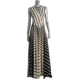 Halston Heritage Womens Striped Full-Length Maxi Dress - 4