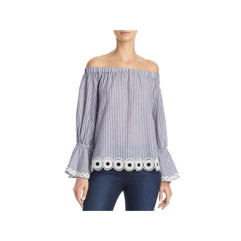 T Tahari Womens Delphine Blouse Off-The-Shoulder Striped