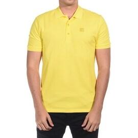 Versace Collection Men's Mesh Polo Shirt Yellow