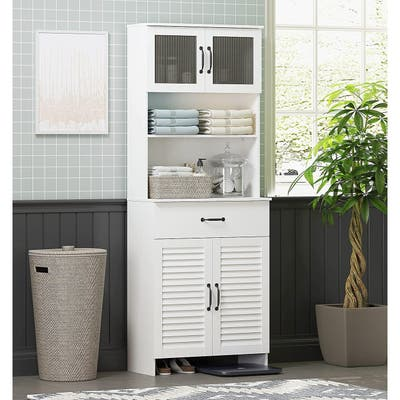 Spirich Freestanding Cabinet with Top Bottom Enclosed Cabinet Space Tall Cabinet with Doors and Drawer Whtie
