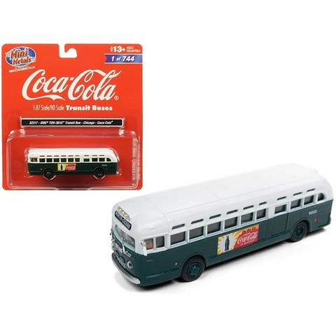 GMC TDH-3610 Transit Bus (Chicago) Coca Cola Green with White Top 1/87 (HO) Scale Model by Classic Metal Works