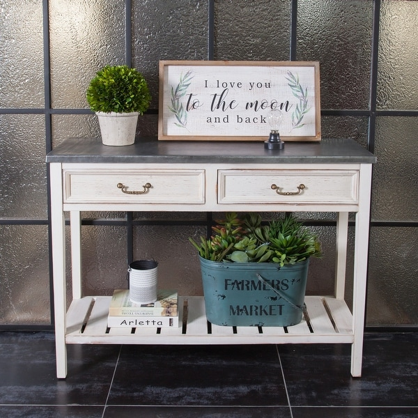 Distressed White Wood and Galvanized Steel Console Table. Opens flyout.
