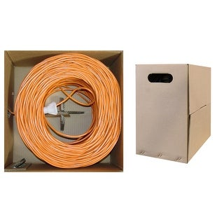 Offex Bulk Cat5e Orange Ethernet Cable, Solid, UTP (Unshielded Twisted Pair), Pullbox, 1000 foot