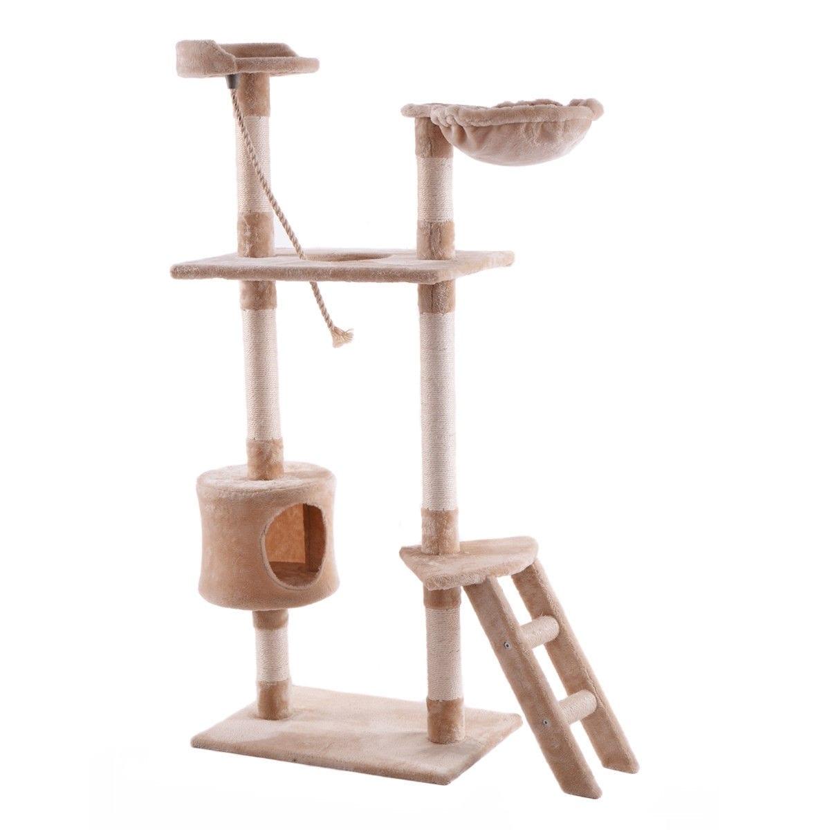 60 Tower Condo Scratcher Kitten Pet Hammock Cat Tree-Beige