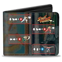 Street Fighter Power Move Blocks Grays Bi Fold Wallet - One Size Fits most