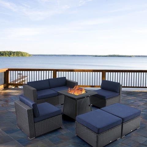 "PHI VILLA 7-Piece Set Gas Fire Pit Table 28""×28"" 50,000BTU & Rattan Wicker Sectional Sofa"