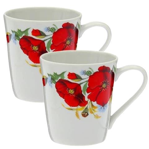 STP Goods 10.1-Oz Red Poppies Porcelain Mug Set of 2