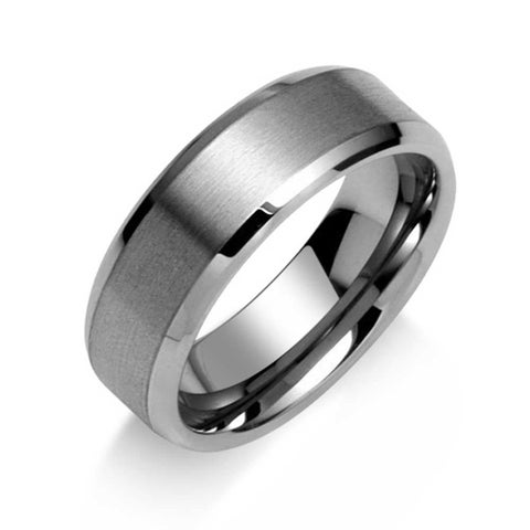 Mens Tungsten Wedding Band Ring Silver Tone Brushed Matte Center 8mm