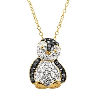 Penguin Pendant with Crystals in 18K Gold-Plated Sterling Silver