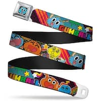 Gumball Face Close Up Black Full Color Gumball & Darwin Multi Color Collage Seatbelt Belt