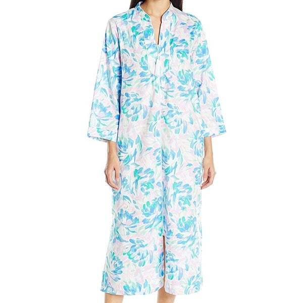Shop Miss Elaine NEW Blue Womens Size XL Floral-Printed Gowns ...