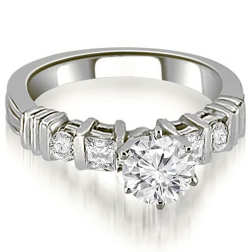 1.54 cttw. 14K White Gold Princess And Round Cut Diamond Engagement Ring